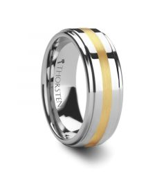APOLLO Gold Inlaid Raised Center Tungsten Wedding Band 6mm & 8mm