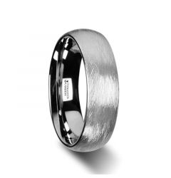 BLACKWALD Domed Tungsten Carbide Ring with Wire Brushed Finish Design  - 6mm & 8mm