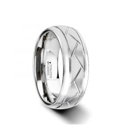 OCTAVIAN Domed Tungsten Carbide Ring with Crisscross Grooves and Brushed Finish - 8mm