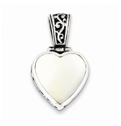 "Sterling Silver Reversible Mother Of Pearl Heart Pendant 18"" Necklace"