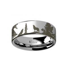 Animal Landscape Scene Wolf Wolves Ring Engraved Flat Tungsten Ring - 4mm - 12mm