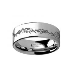 Peaks Mountain Range Outdoors Ring Engraved Flat Tungsten Ring - 4mm - 12mm