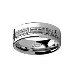 Conductor Long Train Railroad Trolly Landscape Ring Engraved Flat Tungsten Ring - 4mm - 12mm