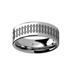 Railroad tracks Landscape Ring Engraved Flat Tungsten Ring - 4mm - 12mm