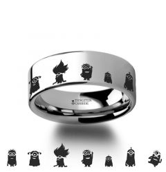 Despicable Me Minions Movie Hero Polished Tungsten Engraved Ring Jewelry - 4mm - 12mm