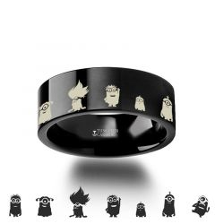 Minions Despicable Me Symbol Super Hero Black Tungsten Engraved Ring Jewelry - 4mm - 12mm