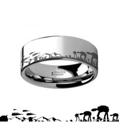 Hoth Battle Star Wars Alliance Galactic Imperial Invasion ATAT ATST Tungsten Engraved Ring - 4mm - 12mm