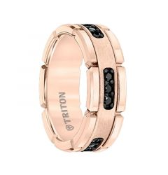 ROSETTE Flat Rose Gold Plated Tungsten Ring with Black Diamond Settings by Triton Rings - 8mm