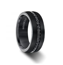 GLADIATOR Black Tungsten Ring with Black Sapphires by Triton Rings - 8mm