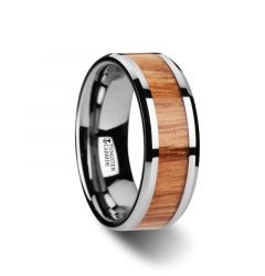 VERMILLION Red Oak Wood Inlaid Tungsten Carbide Ring with Bevels - 6mm - 10mm