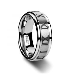 IMPERIUS Raised Center Brush Finish Spinner Ring with Roman Numerals - 8mm