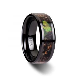 NIGHTFALL Realistic Tree Camo Black Ceramic Wedding Band with Green Leaves - 8mm