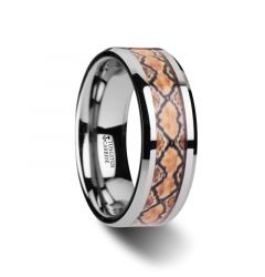SERPENTINE Tungsten Wedding Ring with Boa Snake Skin Design Inlay - 8mm