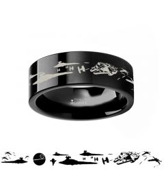 Star Wars A New Hope Death Star Space Battle Black Tungsten Ring Episode IV - 4mm - 12mm