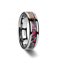JULIET Realistc Tree Camo Tungsten Carbide Wedding Band with Real Pink Oak Leaves - 6mm - 8mm