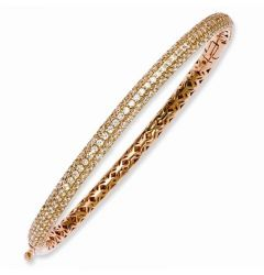 Sterling Silver Pave Rose Gold-Plated 175 Stone CZ Hinged Bangle