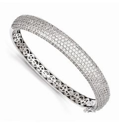 Sterling Silver Pave Rhodium-Plated 384 Stone CZ Hinged Bangle