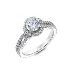 Halo Ladies Engagement Ring With Diamond Split Shank By Scott Kay