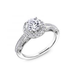 Round Diamond Halo Engagement Rings With Diamond Shank and Arch Gallery