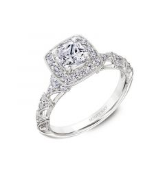 Ladies Cushion Halo Engagement Ring With Arched Milgrain Band By Scott Kay