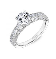Ladies Engagement Ring With Diamond Milgrain Accented Arches Settings From the Heaven's Gates Collection by Scott Kay