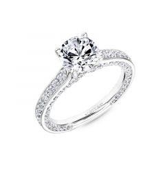 Ladies Engagement Ring With Diamond Shank and Namaste Profile Setting