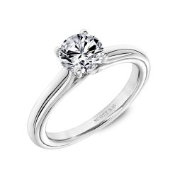 Solitaire Engagement Ring with Polished Shank and Namaste Detail in the Gallery By Scott Kay