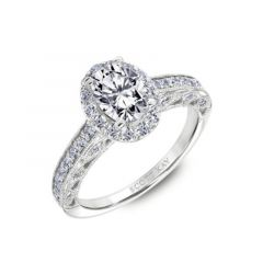 Oval-Shaped Halo Engagement Rings With Round Diamonds Down The Shank By Scott Kay