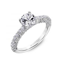 Ladies Pave Engagement Ring With Opening Arched Diamond Accented Profile
