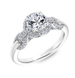 14kt White Gold Beauty Ladies Engagement Ring By Scott Kay With Round Diamond Halo And Interlocking Diamond Links Down the Shank