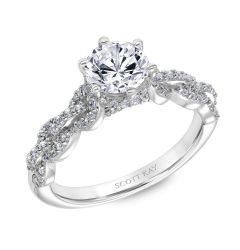 Ladies Engagement Ring By Scott Kay With Diamond Encrusted Links Down The Shank By Scott Kay