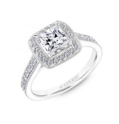 Halo Diamond Engagement Ring With Diamond Milgrain Setting From The Luminaire Collection By Scott Kay