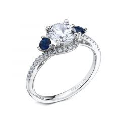 Ladies Engagement Ring With Blue Sapphires And A Bypass Diamond Shank By Scott Kay