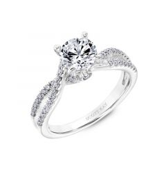 Halo Engagement Ring With Twisted Diamond Shank and A Surprise Diamond In The Gallery