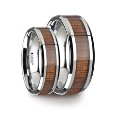 Matching Ring Set Tungsten Carbide Ring with Beveled Edges and Real Koa Wood Inlay - 6mm & 8mm
