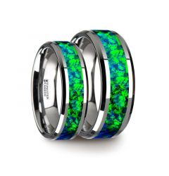 PHOTON Matching Ring Set Tungsten Wedding Band with Beveled Edges and Emerald Green & Sapphire Blue Color Opal Inlay - 6mm & 8 mm