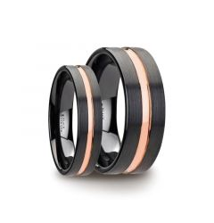 Matching Ring Set Black Ceramic Wedding Band With Rose Gold Groove - 4mm & 8mm