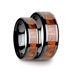 Matching Ring Set Black Ceramic Band with Polished Bevels and Exotic Mahogany Hard Wood Inlay - 6mm & 8mm