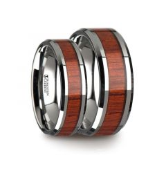 Matching Ring Set Tungsten Wood Ring with Polished Bevels and Padauk Real Wood Inlay - 6 mm & 8mm