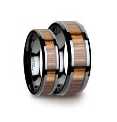Matching Ring Set Black Ceramic Ring with Beveled Edges and Real Zebra Wood Inlay - 6mm & 8mm