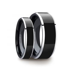 Matching Ring Set Black Polish Finished Center Tungsten Carbide Ring with Metallic Beveled Edges - 4mm & 8mm