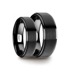 Matching Ring Set Flat Black Tungsten Ring with Brushed Raised Center & Polished Edges - 6mm & 8mm