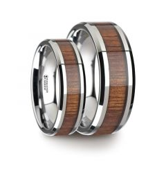 Matching Ring Set Koa Wood Inlaid Tungsten Carbide Ring with Bevels - 6mm & 8mm