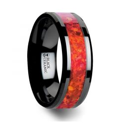 NOVA  Black Ceramic Wedding Band with Beveled Edges and Red Opal Inlay - 4mm- 8mm