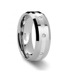STAFFORD Beveled Tungsten Diamond Wedding Band with Silver Inlay - 8mm