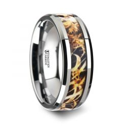 TERRA Tungsten Carbide Wedding Band with Leaves Grassland Camo Inlay Ring - 8mm