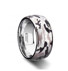 BATTALION Domed Tungsten Carbide Ring with Laser Engraved Camo Pattern - 10mm