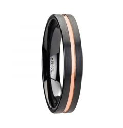 VENICE Black Ceramic Wedding Band With Rose Gold Groove - 4mm