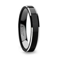 MACLAREN Black Polish Finished Center Tungsten Carbide Ring with Metallic Beveled Edges - 4mm