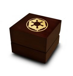 Star Wars Sith Imperial Star Symbol Engraved Wood Ring Box Chocolate Dark Wood Personalized Wooden Wedding Ring Box